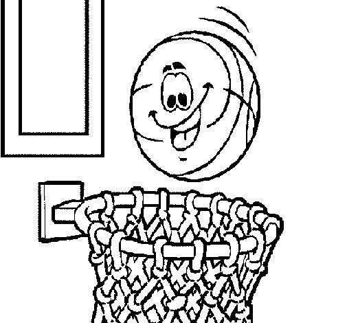 Desenho de Bola e cesto para Colorir