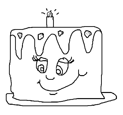 Desenho de Bolo de aniversário II para Colorir