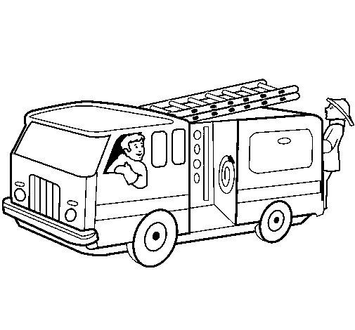 Desenho de Bombeiros no camião  para Colorir