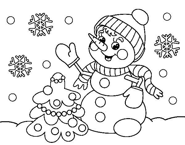 Desenho de Boneco de neve do cartão de Natal para Colorir