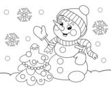 Desenho de Boneco de neve do cartão de Natal para colorear