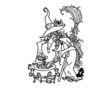 Desenho de Bruxa com poção para colorear