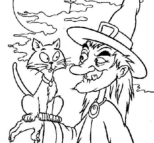 Desenho de Bruxa e gato para Colorir