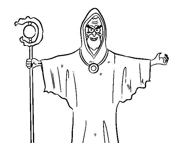 Desenho de Bruxo com uma vara para Colorir