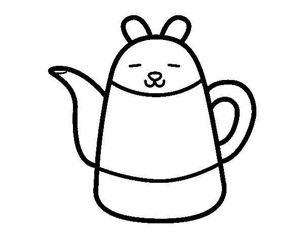 Desenho de Bule em forma de coelho para Colorir