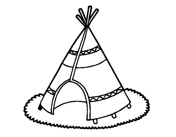 Desenho de Cabana indiana para Colorir