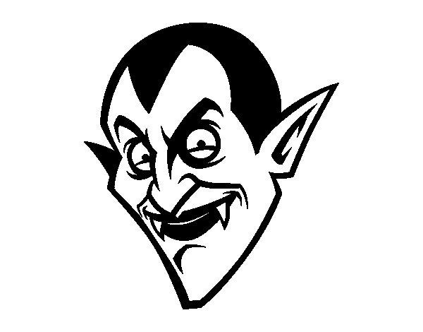 Desenho de Cabeça de Conde Drácula  para Colorir