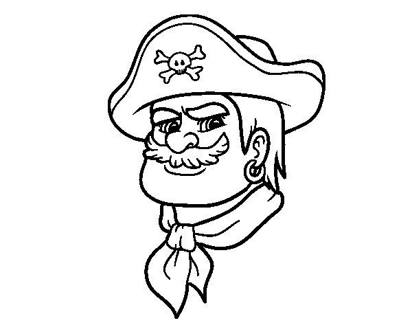 Desenho de Cabeça do pirata para Colorir