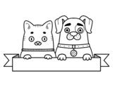 Desenho de Cachorrinho e gatinho para colorear