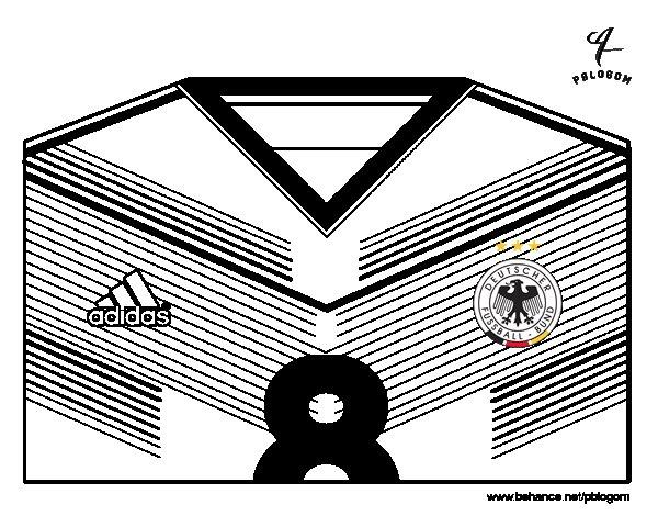 Desenho de Camisa da copa do mundo de futebol 2014 da Alemanha para Colorir