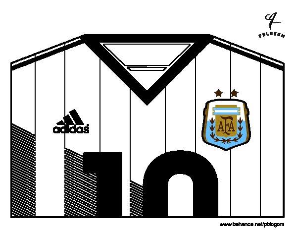 Desenho de Camisa da copa do mundo de futebol 2014 da Argentina para Colorir