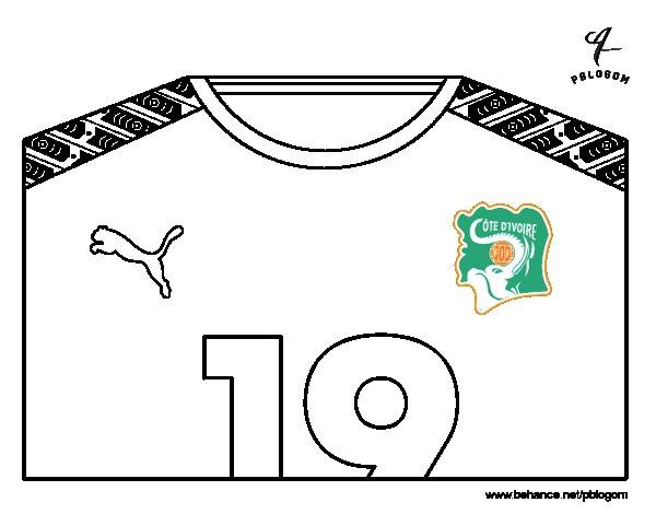 Desenho de Camisa da copa do mundo de futebol 2014 da Costa do Marfim para Colorir