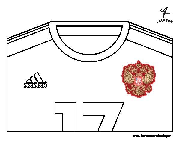 Desenho de Camisa da copa do mundo de futebol 2014 de Rússia para Colorir