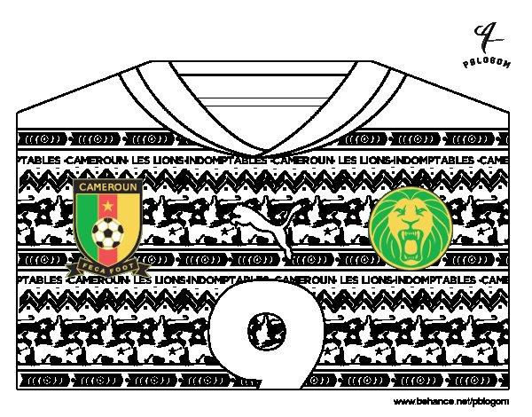 Desenho de Camisa da copa do mundo de futebol 2014 do Camarões para Colorir