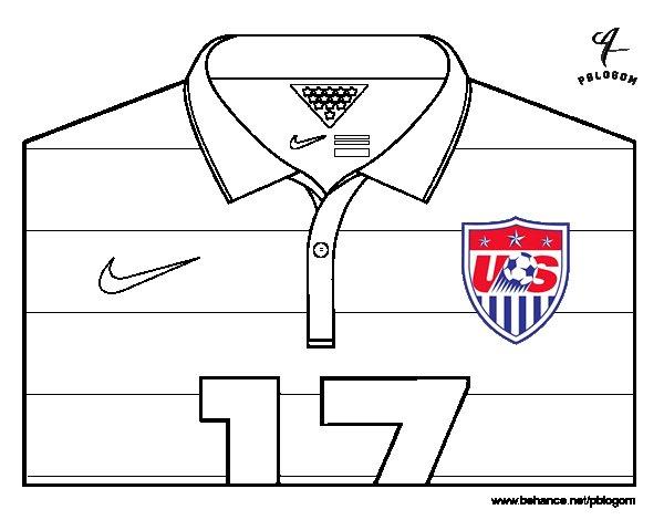 Desenho de Camisa da copa do mundo de futebol 2014 dos Estados Unidos para Colorir