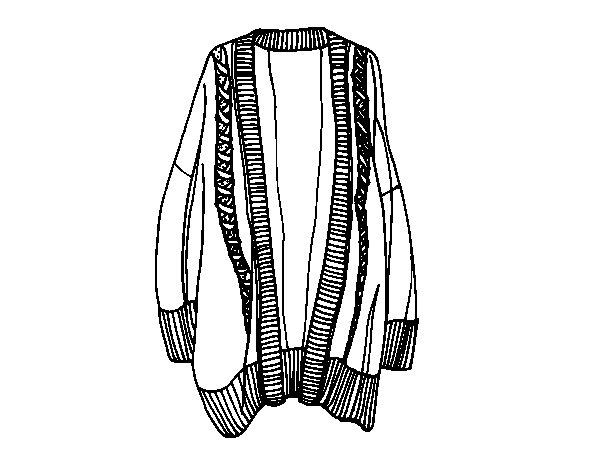 Desenho de Camisola longa aberta para Colorir