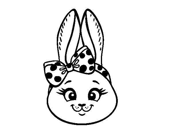 Desenho de Cara de coelhita para Colorir