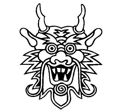 Desenho de Cara de dragão para Colorir