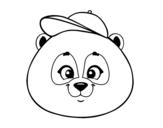 Dibujo de Cara de urso panda com gorro