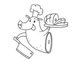 Desenho de carne de porco para colorear