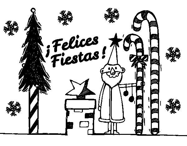Desenho de Cartão Boas festas para Colorir