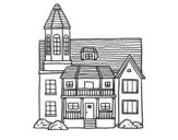 Desenho de Casa de dois andares com torre para colorear