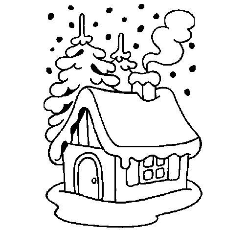 Desenho de Casa na neve para Colorir