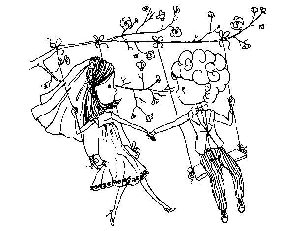 Desenho de  Casado em um balanço para Colorir