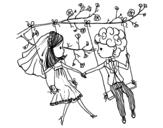 Desenho de  Casado em um balanço para colorear