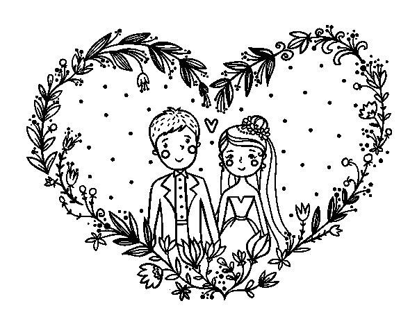 Corações Desenhos Para Colorir Colorir: Desenho De Casamento Coração Para Colorir