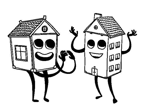 Desenho de Casas vizinhas para Colorir