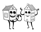 Desenho de Casas vizinhas para colorear