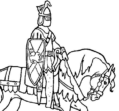 Desenho de Cavaleiro a cavalo para Colorir