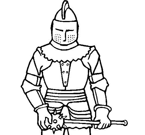 Desenho de Cavaleiro com uma maçã para Colorir