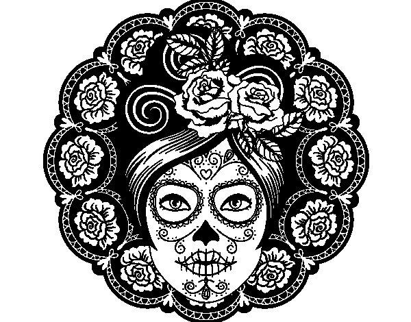 Desenho de Caveira mexicana feminina para Colorir