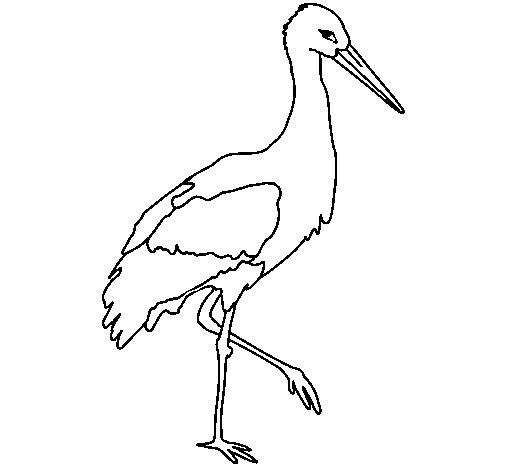 Desenho de Cegonha 1 para Colorir