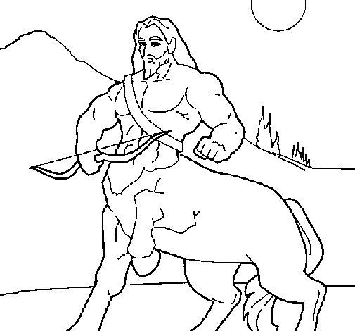 Desenho de Centauro com arco para Colorir