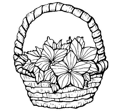 Desenho de Cesta de flores 2 para Colorir