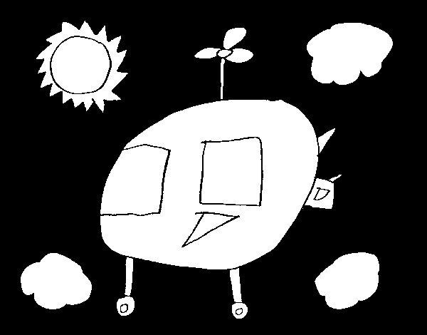 Desenho de Céu com helicóptero para Colorir