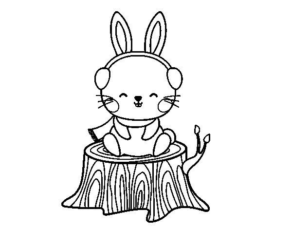 Desenho de Coelho selvagem protegido para Colorir