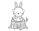 Desenho de Coelho selvagem protegido para colorear