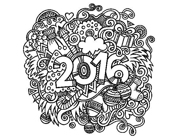 Desenho de Collage 2016 para Colorir