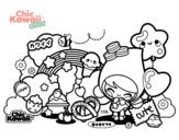 Desenho de Collage Kawaii para colorear