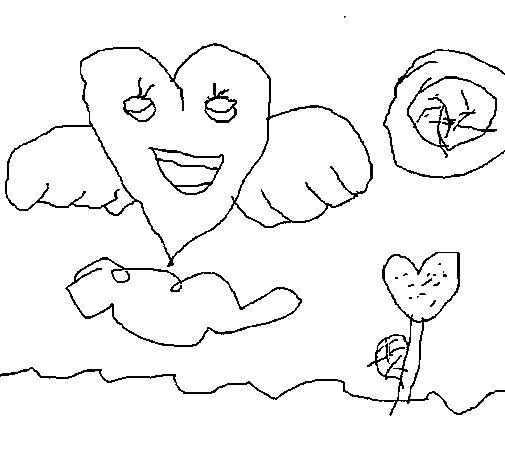 Desenho de Coração com asas para Colorir