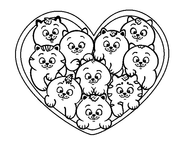 Desenho de Coração de gatinhos para Colorir