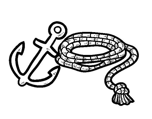 Desenho de Corda e âncora para Colorir