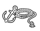 Desenho de Corda e âncora para colorear