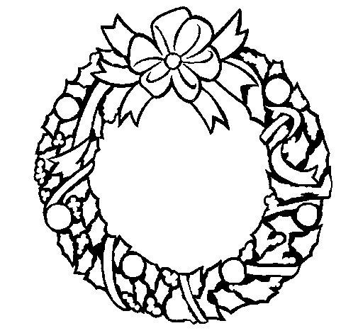 Desenho de Coroa de natal para Colorir