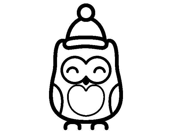 Desenho de Coruja natalicio para Colorir