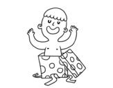 Desenho de Criança que joga com uma caixa de presente para colorear